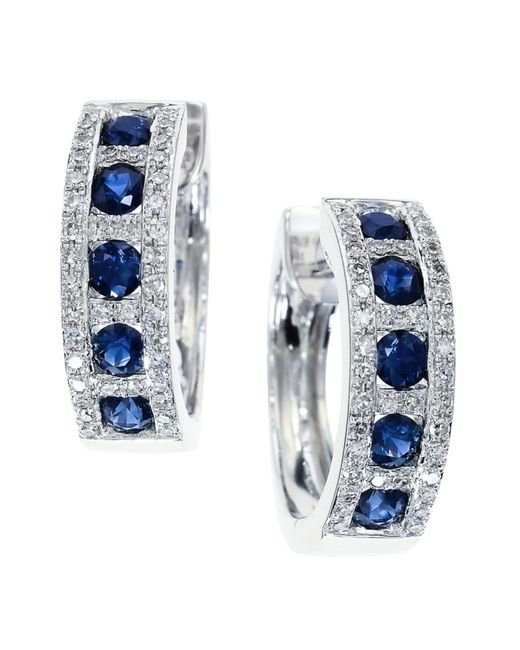 Effy | Metallic Royale Bleu Sapphire, Diamond And 14k White Gold Hoop Earrings | Lyst