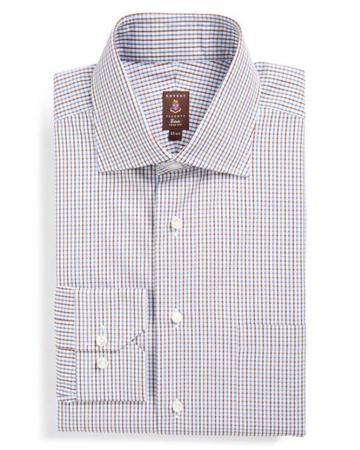 Robert talbott trim fit check dress shirt in brown for men for Robert talbott shirts sale