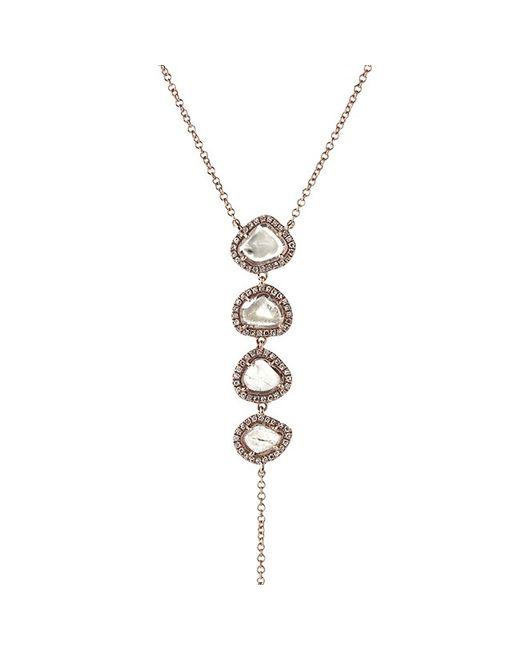 Anne Sisteron - Metallic 14kt Rose Gold 4 Drop Diamond Slice Lariat Necklace - Lyst