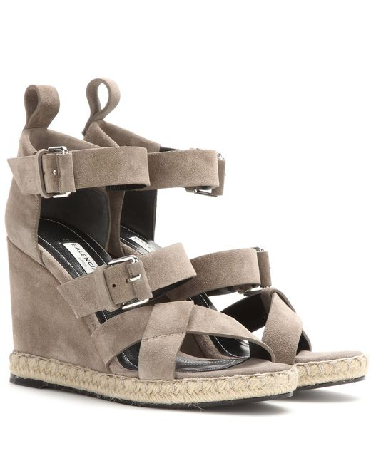 balenciaga suede wedge sandals in gray grey lyst