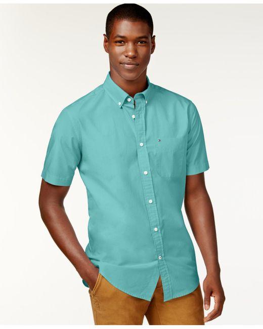 Tommy hilfiger maxwell short sleeve button down shirt in for Aqua blue mens dress shirt