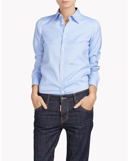 DSquared²   Blue Boxy Pointed Collar Shirt   Lyst