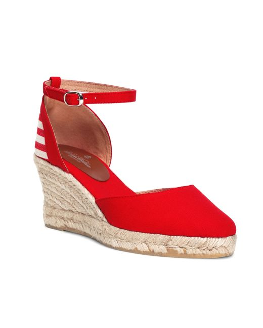 Red Wedge Leather Shoes