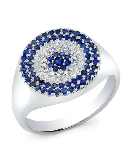 Anne Sisteron | Blue 14kt White Gold Diamond And Sapphire Disc Ring | Lyst