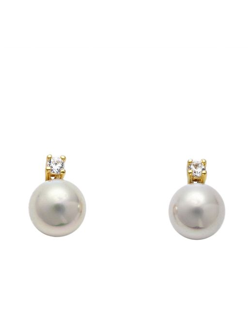 Majorica   White 14 Kt. Gold Cubic Zirconia And Organic Man-made Pearl Stud Earrings   Lyst
