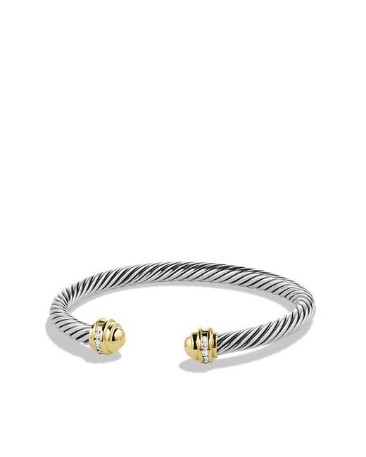 David Yurman | Metallic Cable Classics Bracelet With Diamonds And 18k Gold, 5mm | Lyst