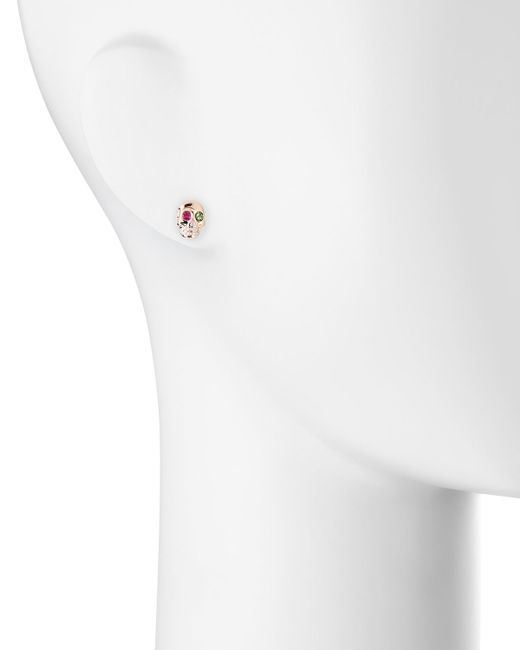 Sydney Evan | Multicolor 14k Rose Gold Gemstone Skull Single Stud Earring | Lyst