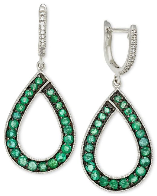 Macy's | Green Emerald (1-5/8 Ct. T.w.) And Diamond (1/10 Ct. T.w.) Teardrop Earrings In 14k White Gold | Lyst