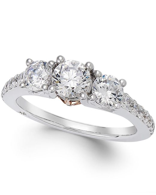 Marchesa | Metallic Certified Diamond Three-stone Ring (1-1/2 Ct. T.w.) In 18k White Gold | Lyst