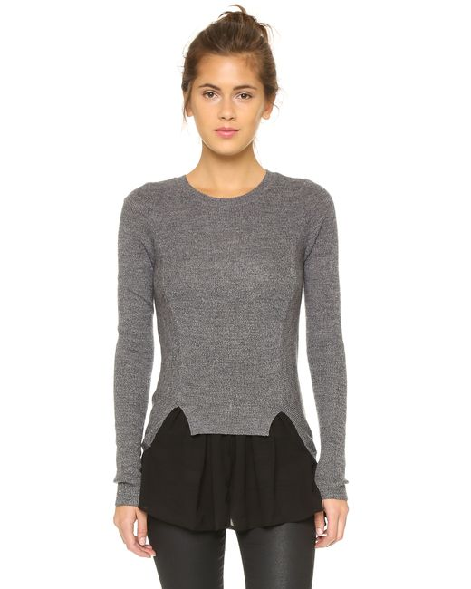 Top Secret | Gray Chiffon Ruffle Sweater | Lyst