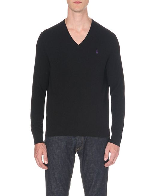 Polo Ralph Lauren | Black V-neck Wool Jumper for Men | Lyst
