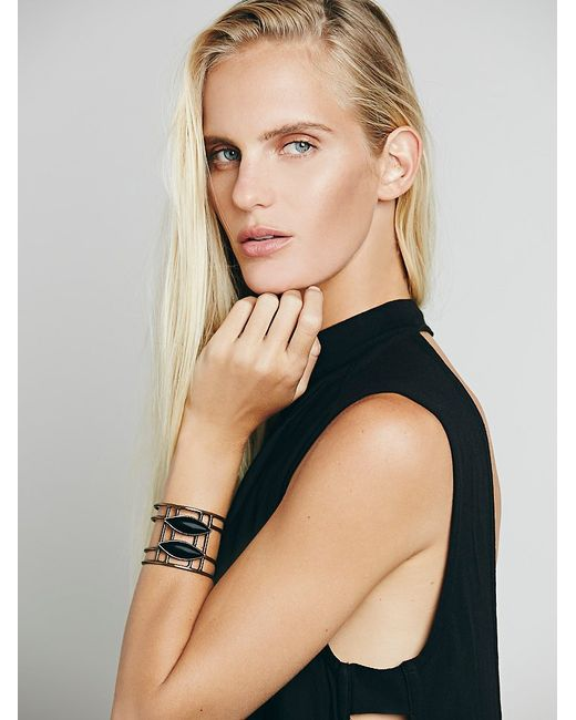 Free People | Black Womens Caged Stone Cuff | Lyst