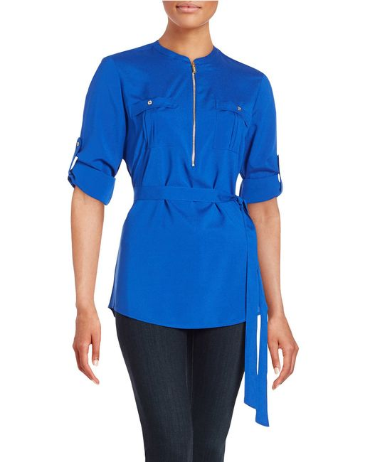 Calvin Klein | Blue Zip Placket Tunic | Lyst