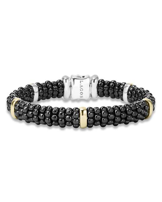 Lagos | Black Caviar Small Diamond Station Bracelet | Lyst