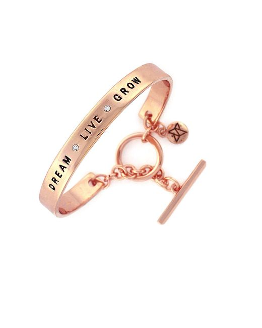 BCBGeneration | Pink Spoken Words Glitz And Rose Goldtone Bangle Bracelet | Lyst
