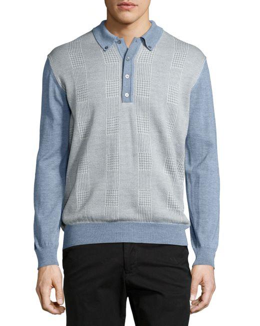 Robert talbott long sleeve polo sweater in blue for men lyst for Robert talbott shirts sale