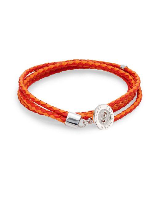Tateossian   Orange Two-tone Leather Button Wrap Bracelet for Men   Lyst