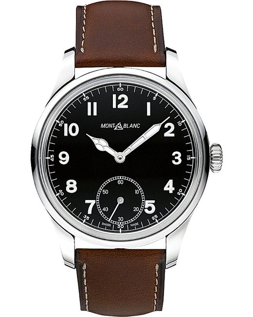 Montblanc | Black 112638 Collection 1858 Leather And Stainless Steel Watch | Lyst