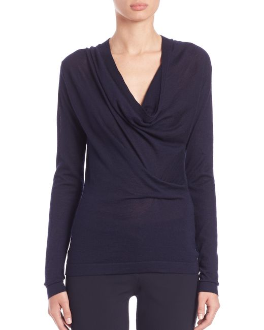 Derek Lam | Blue Draped Cowlneck Sweater | Lyst