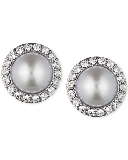 Givenchy | Metallic Silver-tone Faux Pearl And Crystal Stud Earrings | Lyst