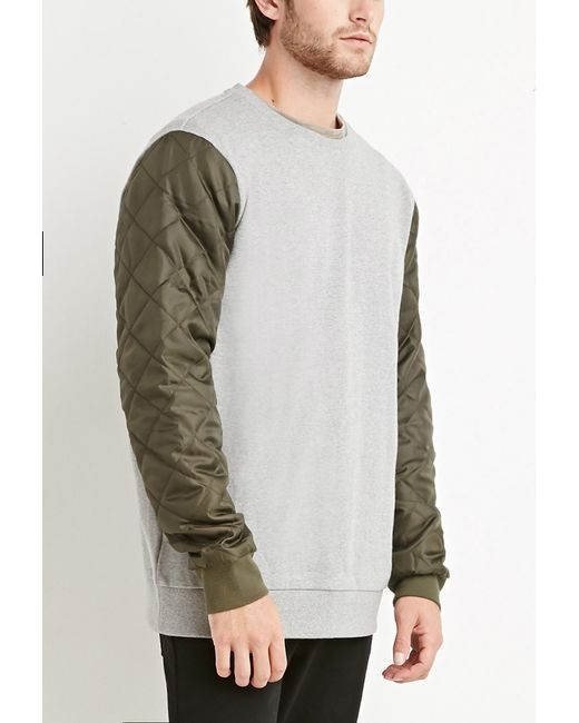 Forever 21 | Gray Quilted Colorblock Sweatshirt for Men | Lyst
