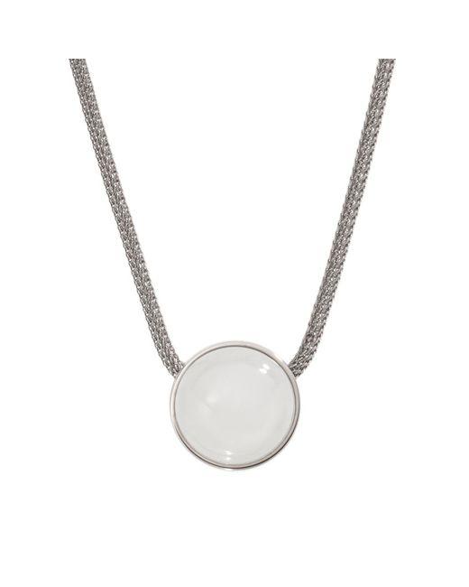 Skagen | Metallic Classic White Glass Silver Steel Necklace | Lyst