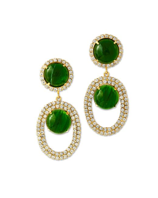 Kenneth Jay Lane | Green Crystal And Emerald Cabochon Drop Clip Earring | Lyst