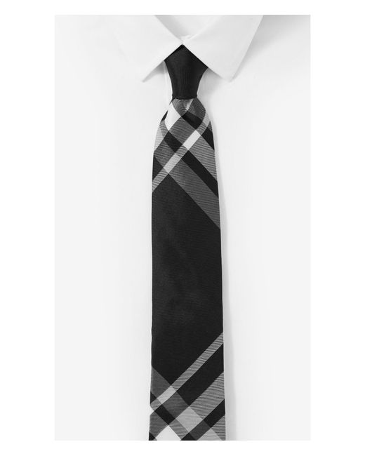Express | Black Plaid Narrow Silk Tie for Men | Lyst