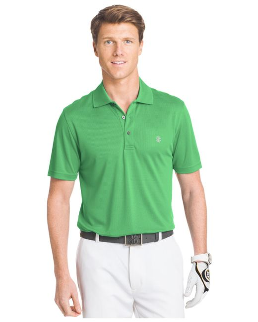 Izod Champion Grid Golf Polo In Green For Men Irish Green