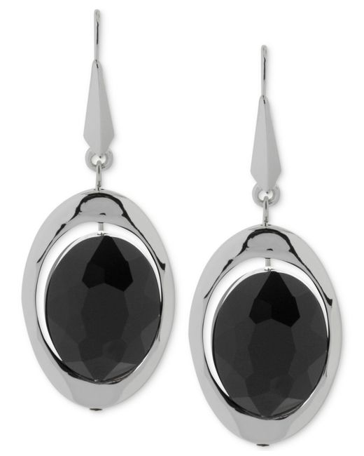 Robert Lee Morris | Silver-tone Black Faceted Bead Drop Earrings | Lyst