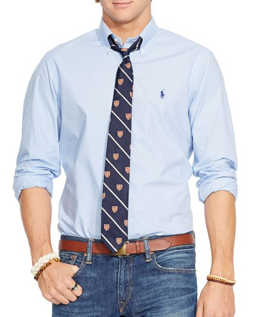 Polo Ralph Lauren | Blue Checked Poplin Button Down Shirt - Classic Fit for Men | Lyst