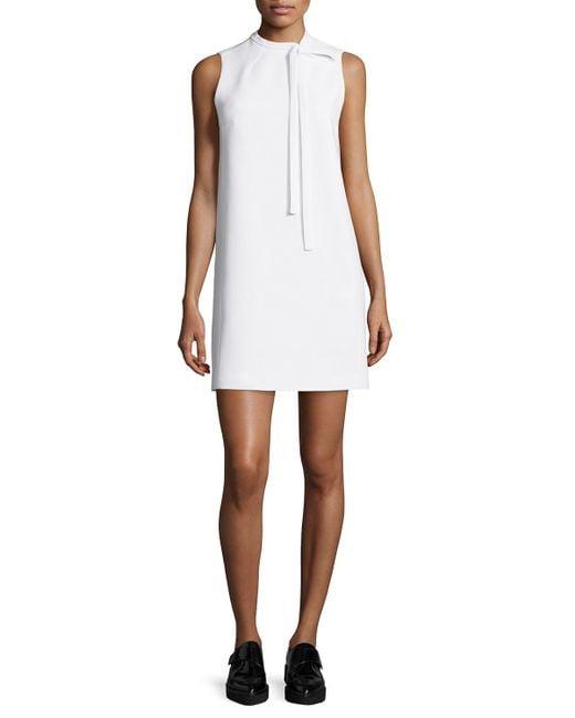 Theory   White Nurita Sleeveless Tie-neck Dress   Lyst