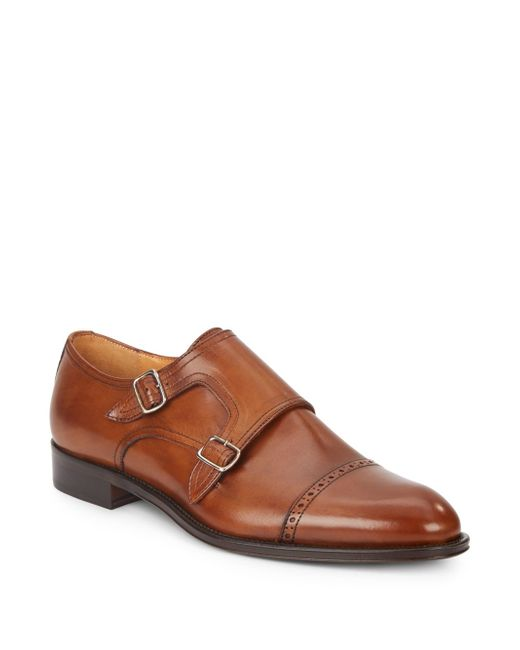 Saks Fifth Avenue Made In Italy Double Monk Strap Leather Shoes