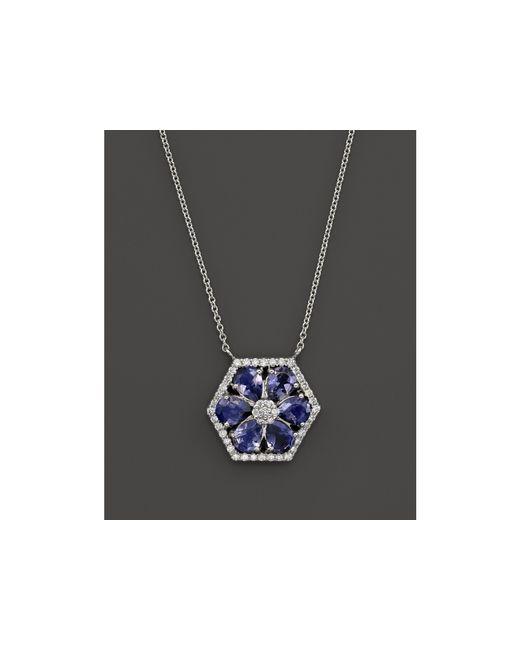 "Dana Rebecca | Jennifer Yamina Iolite And Diamond Necklace In 14k White Gold, 16"" | Lyst"