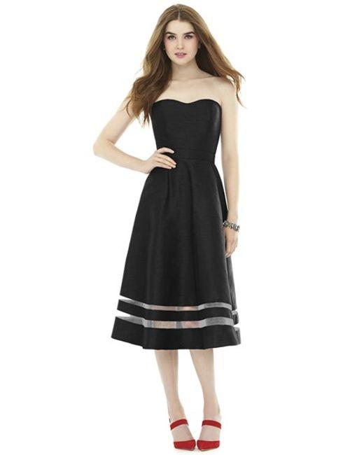 Alfred Sung Illusion Stripe Strapless A Line Midi Dress In