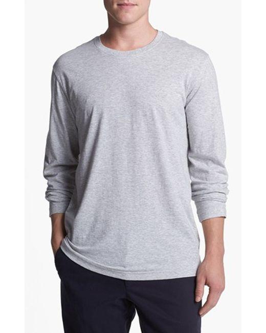 Daniel Buchler   Gray Peruvian Pima Cotton Long Sleeve Crewneck T-shirt for Men   Lyst