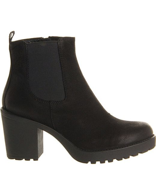 Vagabond Grace Heeled Leather Chelsea Boot In Black