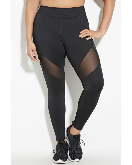 Forever 21 plus size mesh insert leggings in black lyst for Thigh jewelry forever 21
