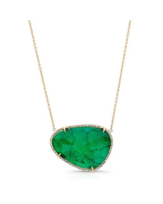 Anne Sisteron   Green 14kt Yellow Gold Emerald Diamond Organic Shape Necklace   Lyst