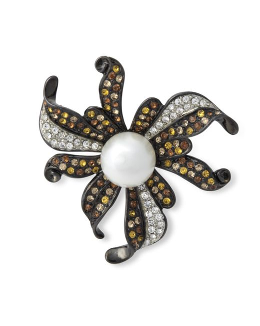 Kenneth Jay Lane | Multicolor Multi Topaz Flower Brooch | Lyst