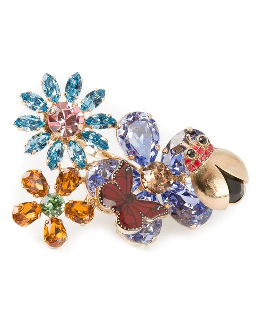 Dolce & Gabbana   Multicolor Floral Butterfly Double Cocktail Ring   Lyst