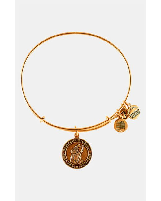 ALEX AND ANI | Metallic 'st. Christopher' Wire Bangle | Lyst