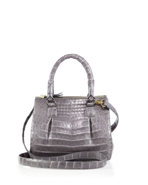 Nancy Gonzalez | Gray Crocodile Mini Pliss & #233 Crossbody Bag | Lyst