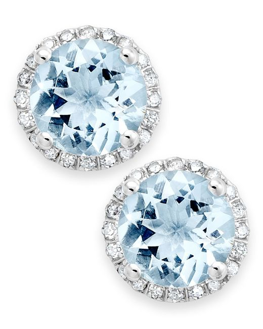 Macy's | Blue Aquamarine (2 Ct. T.w.) And Diamond (1/5 Ct. T.w.) Stud Earrings In 14k White Gold | Lyst