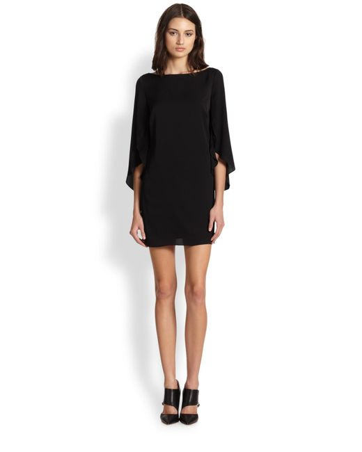 MILLY | Black Stretch Silk Butterfly Sleeve Dress | Lyst