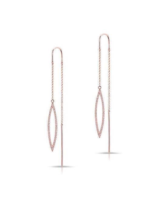 Anne Sisteron | Metallic 14kt Rose Gold Diamond Open Monaco Threader Earrings | Lyst