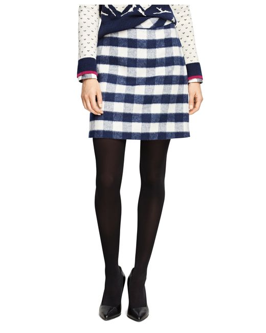 brothers wool blend buffalo check pencil skirt in