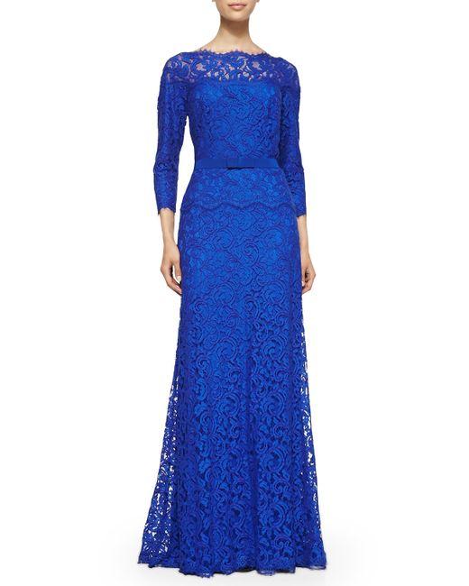 Tadashi Shoji | Blue 3/4-Sleeve Lace Belted-Waist Gown | Lyst