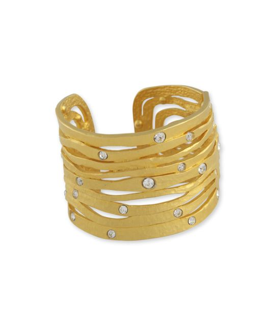 Kenneth Jay Lane | Metallic Crystal Studded Cuff | Lyst