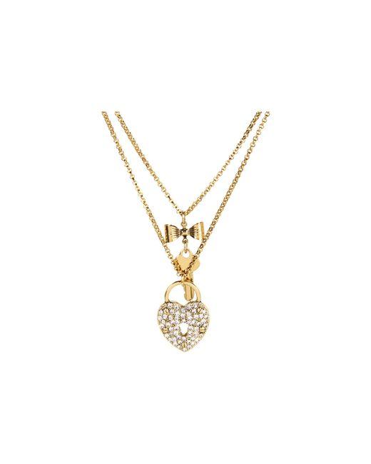 Betsey Johnson | Metallic Iconic Heart/key 2 Row Necklace | Lyst